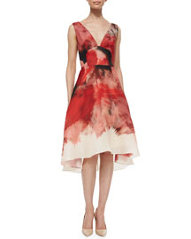 Brushstroke-Border V-Neck Dress, Red