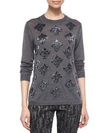 Long-Sleeve Beaded Sweater, Charcoal