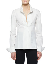 Slit-Front Tailored Blouse
