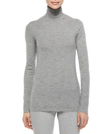 Cashmere-Blend Slub-Knit Turtleneck Top