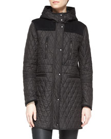 Flynn Contrast-Inset Quilted Coat