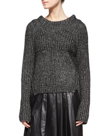 Speckled Ribbed Knit Sweater