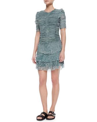 Damia Ripple-Print Ruched Tiered Mini Dress, Green