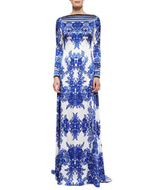 Long-Sleeve Floral-Print Gown
