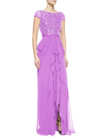 Metallic Beaded Cascading Ruffle Gown