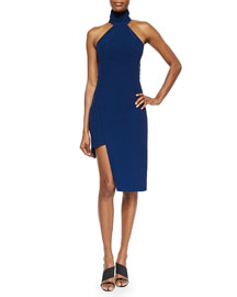 Mock-Neck Asymmetric Sheath Dress