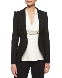 Peaked-Sleeve One-Button Blazer