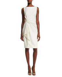 Sleeveless Ruffle-Front Sheath Dress, Ivory