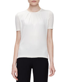 Short-Sleeve Pleated-Front Top, Off White
