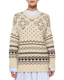 Crewneck Fair Isle Knit Sweater