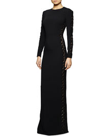 Long-Sleeve Lace-Trimmed Gown