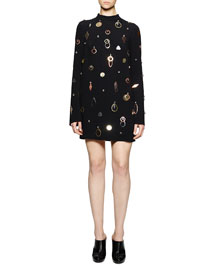 Jewel-Embellished Cady Mini Dress