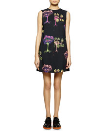Psychedelic Garden-Print Shift Dress