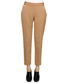 Skinny-Fit Wool Twill Ankle Pants, Camel