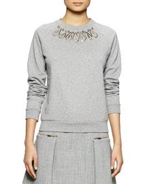 Jewel-Embroidered Crewneck Sweatshirt