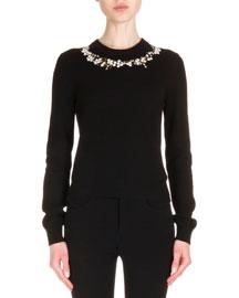 Cashmere-Blend Floral Neckline Long-Sleeve Sweater, Black