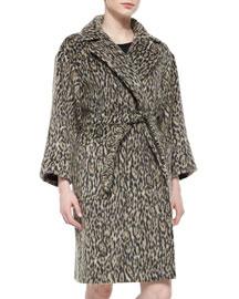 Leopard-Print Blanket Coat