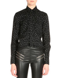 Star-Print Snap Down Shirt, Black/White