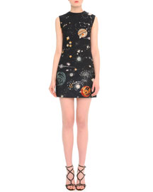 Cosmos-Print Crepe Sheath Dress