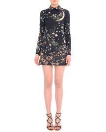 Long-Sleeve Constellation-Print Shift Dress