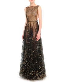 Cosmos-Embroidered Tulle Gown