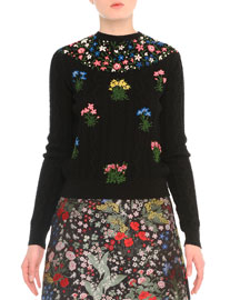 Aran Bouquet-Embroidered Cable-Knit Sweater