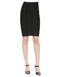 Bandage Knit Pencil Skirt, Black