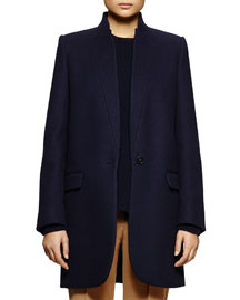Bryce One-Button Notched Collar Coat