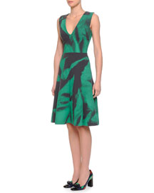 V-Neck Abstract-Print Fit-And-Flare Dress