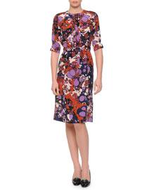 Strobic-Print Belted Dress