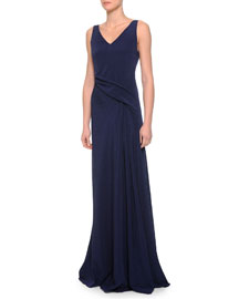 V-Neck Crossover Draped Gown