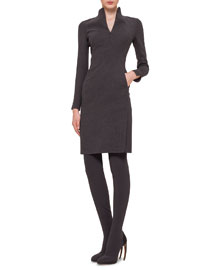 Mock-Neck Front-Zip Double-Faced Sheath Dress