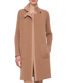 Reversible Contrast-Trimmed Cashmere Coat