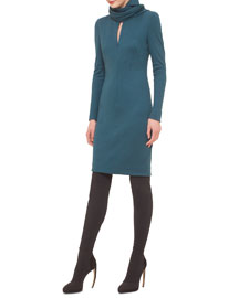 Scarf-Detailed Front-Zip Sheath Dress