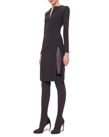 Double-Faced Leather-Inset Sheath Dress
