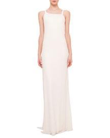 Asymmetric-Neck Draped-Back Gown