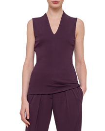 Draped-Back Jersey Top
