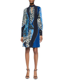 Patchwork Tile-Print Keyhole Dress