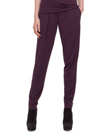 Pleated Jersey Tapered Pants