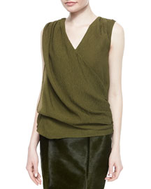 Sleeveless Textured Surplice Top