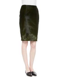 Calf Hair & Leather Pencil Skirt