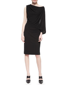 Draped One-Shoulder Crepe Dress