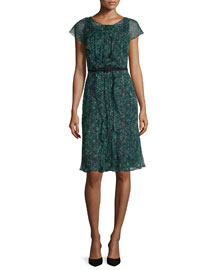 Speckled Silk Chiffon Cap-Sleeve Dress, Black/green