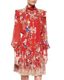 Floral-Print Tie-Neck Dress