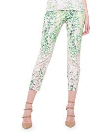 Clover-Print Slim-Fit Capri Pants