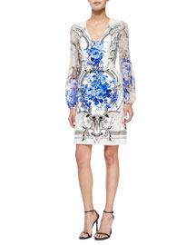 Sheer-Sleeve Tapestry-Print Dress