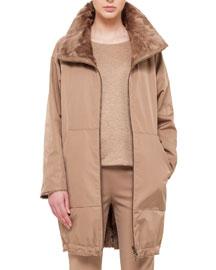 Fur-Lined Tech Fabric Reversible Coat