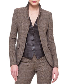 Cashmere-Blend Glen Plaid Jacket