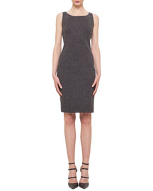 Cashmere-Blend Herringbone Sheath Dress