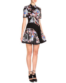 Paisley-Print Mock-Neck Fit-and-Flare Dress